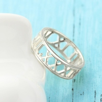 Custom Sterling Silver Roman Numerals Ring