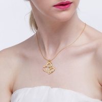 Gold Hearts Name Necklace