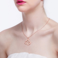 Rose Gold Hearts Name Necklace