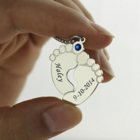 Memory Baby's Feet Charms Necklace with Birthstone Sterling Silver