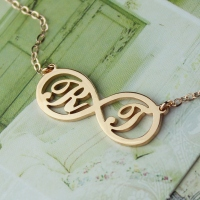 Collier Infini-2 Initiales-Plaqué Or Rose