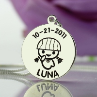 Silver Disc Necklace Engraved Name, Birth Date & Baby Girl For Kids