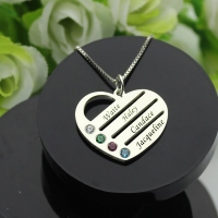 Popualr 4 Birthstones & Names Personalized Mother's Heart Necklace