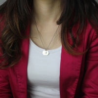 Personalized Initial Discs Necklace Silver