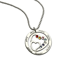 Custom Circle of Life 7 Names & Birthstones Necklace with Hearts