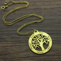 Circle 5 Family Names Tree of Life Pendant Necklace in Gold