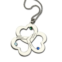 Mother's Day Triple Heart Necklace with Names & Birthstones