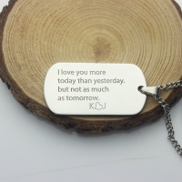 Custom Titanium Steel Love Song Dog Tag Name Necklace