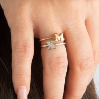 Personalized Women's Midi Initial Ring Sterling Silver