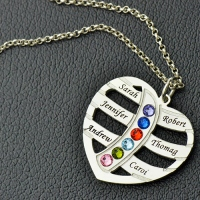 Mother's Day Heart Necklace with Kids Names & Birthstones