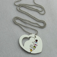 Heart Family Names Necklace With Birthstones Sterling Silver