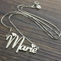 Valentine's Sterling Silver Long Name Pendant Necklace for Her