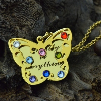Birthstone Butterfly Necklace 18k Gold Plated