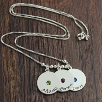 Customizable Mother's Disc and Birthstone Charm Necklace