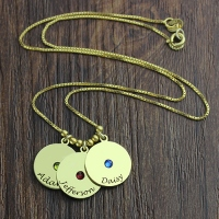 Mother's Disc and Birthstone Charm Name Necklace 18k Gold