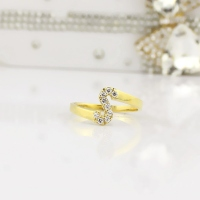 Custom Birthstone Initial Ring 18k Gold Plated