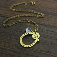 Birthstone Horseshoe Lucky Necklace with Initial Charm 18k Gold Plate