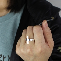 Engraved Name Cross Ring Sterling Silver