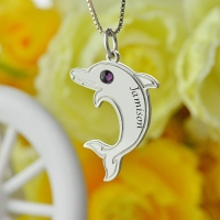 Cute Dolphin Necklace with Birthstone & Name Sterling Silver