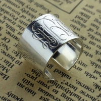 Personalized Monogram Cuff Ring Sterling Silver