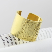Noble Script Monogram Cuff Ring Gift 18K Gold Plated