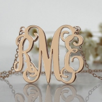 Rose Gold Monogram Initial 3 Letters Pendant Necklace