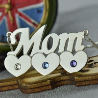 Mother Child Heart with Birthstone
