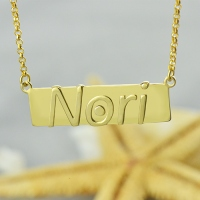 Raised Nori Letter Name Bar Necklace