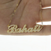 Custom 18K Gold Full Birthstones Carrie Name Necklace