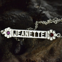Cut Out Name Bracelet With Birthstone Sterling Silver