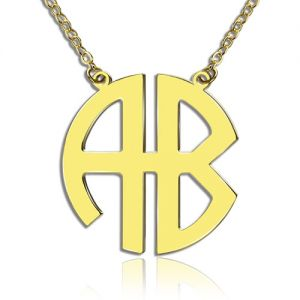 Two Initial Block Monogram Pendant Solid Gold