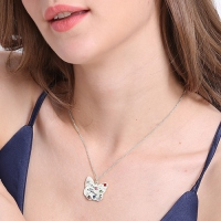 Engraved Mother's Butterfly Necklace with Birthstone