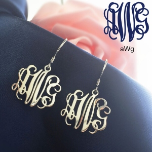 Personalized Sterling Silver Monogram Earrings