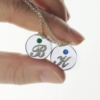 Personalized Disc Necklace with Initial & Birthstone