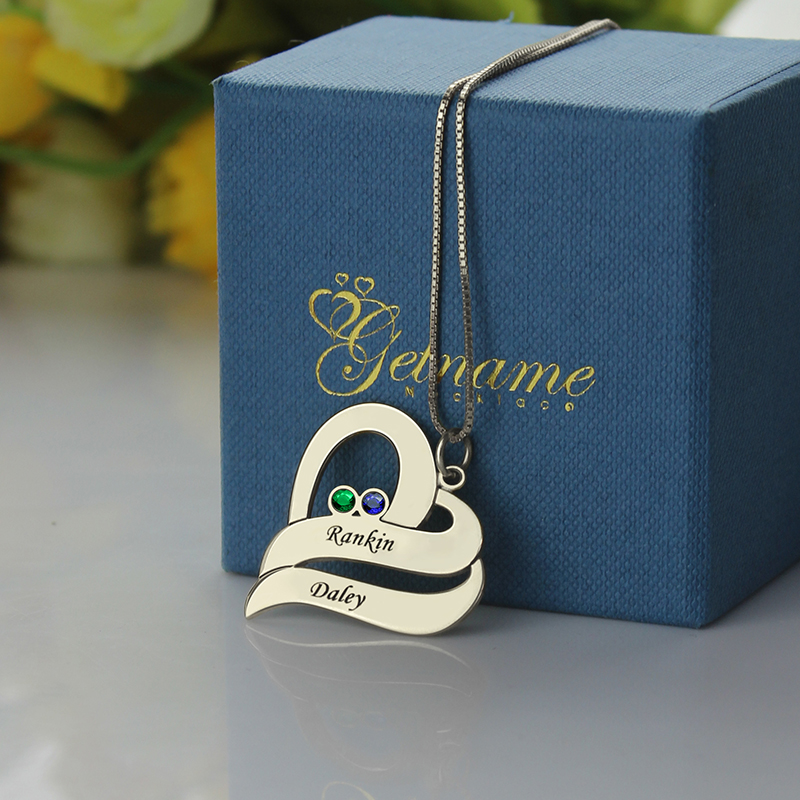 Gifts For Girlfriend Two Hearts Forever One Necklace Sterling Silver