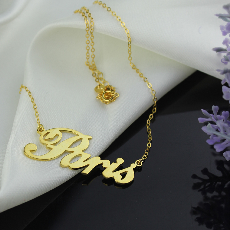 Paris Hilton Style Name Necklace Solid Gold