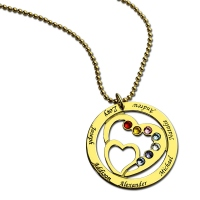 Circle Family Heart In Heart Birthstone Name Necklace Gold
