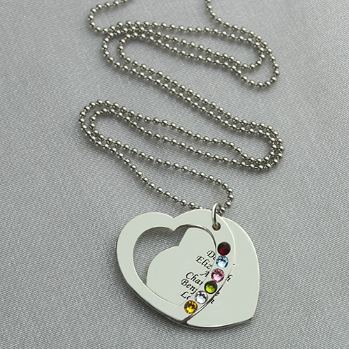 Custom Heart Nana Necklace With Birthstone Sterling Silver