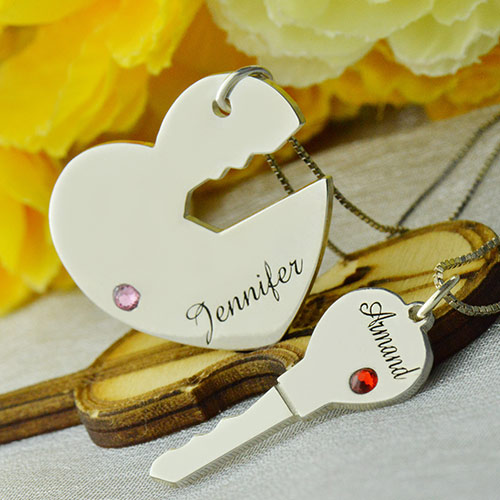 80ce77c5bc Key to My Heart Name Pendant Set For Couple Sterling Silver 925. $ 48.99 $  39.19
