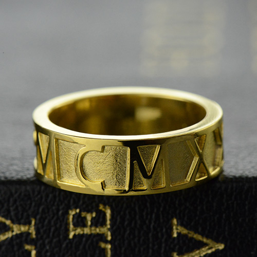86c32c130 18K Gold Plated Roman Numeral Date Ring