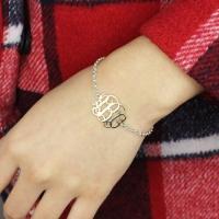 Silver Initial Monogram Bracelet