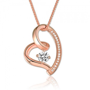 Heart Birthstone Necklace with Cubic Zirconias In Rose Gold