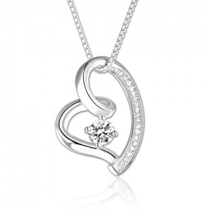 Splendid Love in Your Heart Birthstone Necklace Sterling Silver