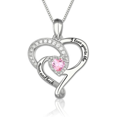 aed77f2289 I Love You To The Moon And Back Birthstone Necklace Sterling Silver. Video  Picture 1/4