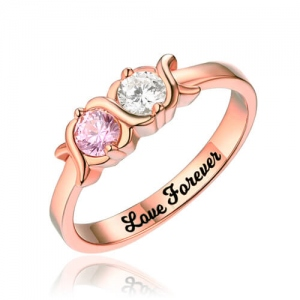 Engraved XoXo Ring In Rose Gold with Birthstones & Words