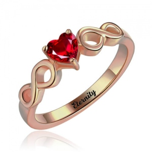 Glittering Infinity Ring with Heart Birthstone in Rose Gold