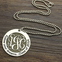 Follow Your Dreams Monogram Round Necklace Sterling Silver