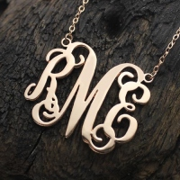 Collier Monogramme-3 Initials-Plaqué Or Rose
