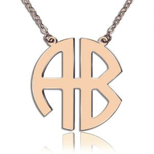 Two-Initial Block Monogram Pendant Necklace Solid Rose Gold