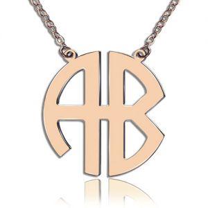 Rose Gold 2 Initial Block Monogram Pendant Necklace